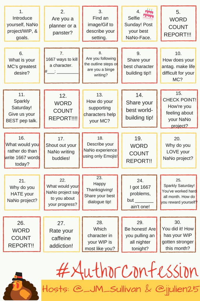 #AuthorConfession - November