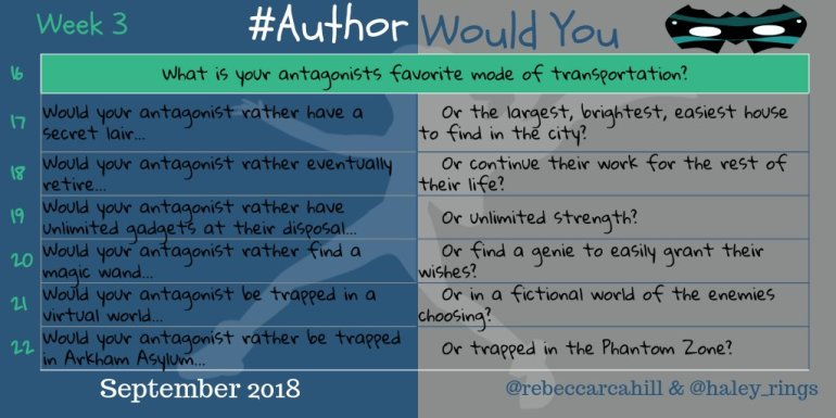 #AuthorWouldYou Sept 3